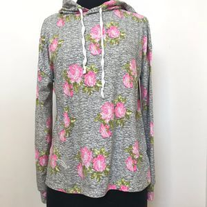 Ardene Floral Gray Super Soft Hoodie Small